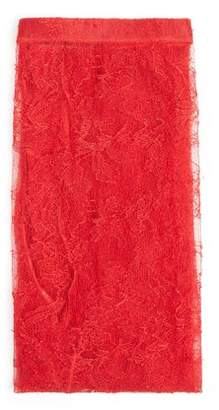 Gucci Semi Sheer Floral Lace Leggings - Womens - Red