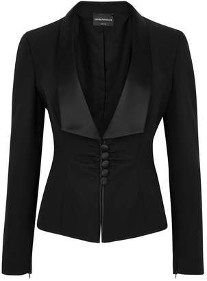 Emporio Armani Black Satin-trimmed Tuxedo Jacket