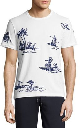 Moncler Embroidered Hawaiian T-Shirt, White $295 thestylecure.com