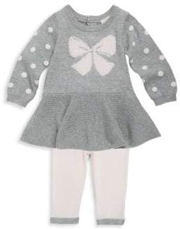 Baby Girl's Cotton Bow Sweater Top & Leggings Set