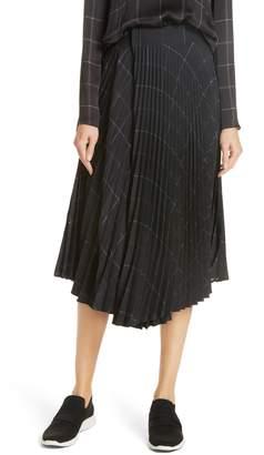 Vince Grid Plaid Draped Pleat Skirt