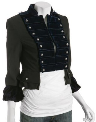 Alvin Valley black stretch poly 'Belly' military jacket