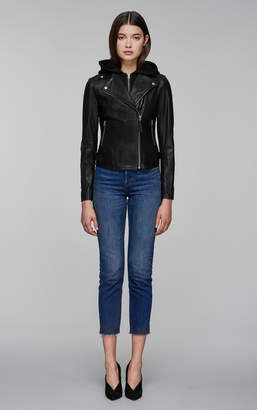 Mackage YOANA biker style leather jacket with removable hood