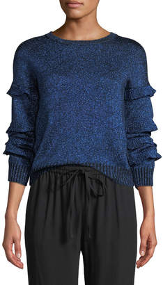 RED Valentino Crewneck Ruffle Trim Long-Sleeve Metallic Knit Sweater