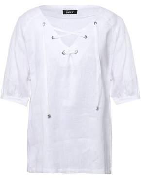 DKNY Lace-up Linen-gauze Top