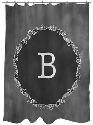 Thumbprintz Chalkboard Scroll Monogram Shower Curtain, Grey