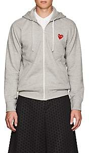 Comme des Garcons Men's Heart Cotton Terry Hoodie-Light Gray