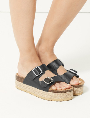 Marks and Spencer Two Strap Flatform Heel Mules