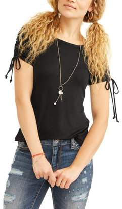 No Boundaries Juniors' Lace-Up Ruched Short Sleeve Layered Necklace 2Fer
