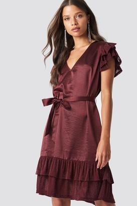 Na Kd Party Glitter Frills V-Neck Mini Dress Burgundy
