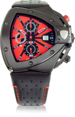 Lamborghini Tonino Black Stainless Steel Horizontal Spyder Chronograph Watch w/Red Dial