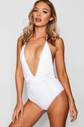 boohoo All Over Sequin Swimsuit