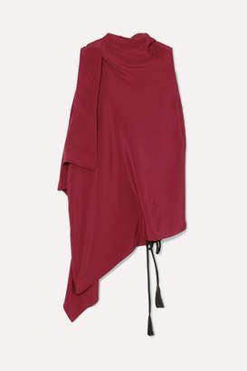 Roland Mouret Tavistock Draped Asymmetric Silk-crepe Marocain Top - Burgundy