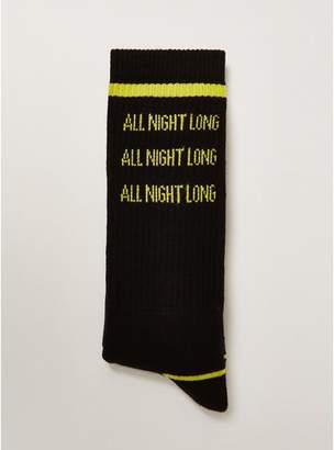 Topman Mens Black 'All Night Long' Tube Socks