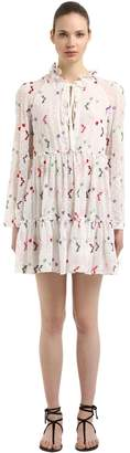 Giamba Floral Embroidered Georgette Mini Dress