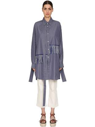 Loewe Oversized Fringed Cotton Poplin Shirt
