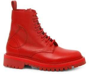 Valentino Go Logo Leather Combat Boots