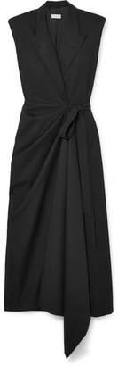 Dries Van Noten Cotton And Wool-blend Wrap Dress - Black