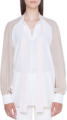 c52ff1bc Akris Long-Sleeve Colorblock Blouse with Detachable Cuffs