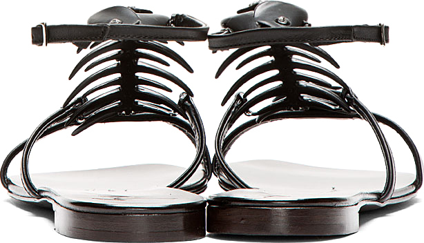 Giuseppe Zanotti Black Matte Nuvoroll Fish Skeleton Sandals