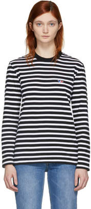 MAISON KITSUNÉ Black and White Striped Tricolor Fox Patch T-Shirt