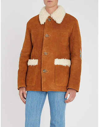 Gucci Floral-embroidered shearling jacket