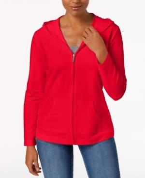 Karen Scott Petite Solid Zip-Front Hooded Jacket, Created for Macy's