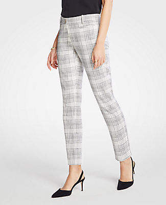 Ann Taylor The Petite Cotton Crop Pant In Variegated Plaid