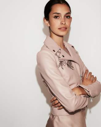 Express Minus The Leather) Floral Embroidered Boxy Moto Jacket
