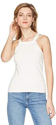 Milly Women's Knit Thin Strap Slim Ruffle Tank Top