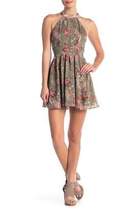 L'Atiste Patterned Mock Neck Mini Dress