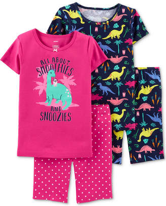 Carter's Carter Little & Big Girls 4-Pc. Cotton Dinosaur Pajamas Set