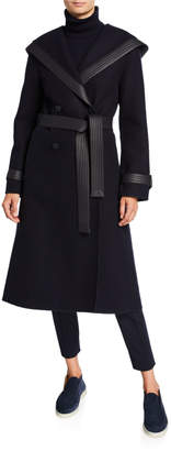 Loro Piana Cashmere Leather-Trim Hooded Coat