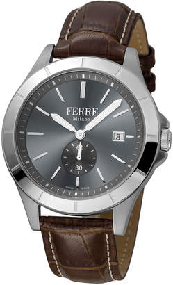 Ferré Milano Men's 43mm Stainless Steel Date Sub-Seconds Diver Watch with Leather Strap Steel\/Brown\/Gray