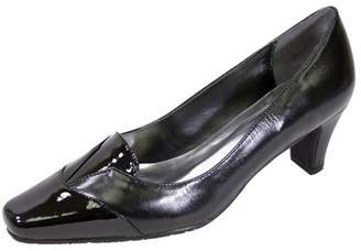 Peerage PEERAGE Shannon Women Extra Wide Width Square Closed Toe Mid-Heel Pump BLACK 10
