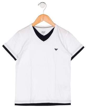 Armani Junior Boys' V-Neck Short Sleeve Shirt