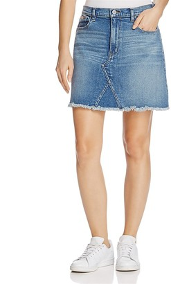 Calvin Klein Jeans Frayed Denim Skirt $69 thestylecure.com
