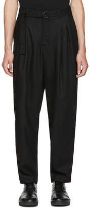 Undecorated Man Black Two-Tuck Wide Trousers