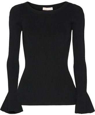 MICHAEL Michael Kors - Ribbed Stretch-knit Sweater - Black $125 thestylecure.com