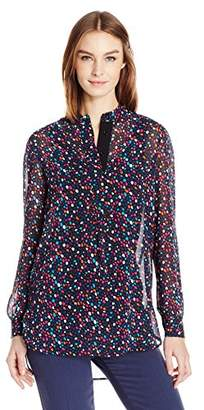 Anne Klein Women's Pebble Print Long Sleeve Poet Blouse