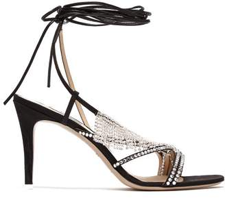 ATTICO The Baby Crystal Embellished Moire Stiletto Sandals - Womens - Black