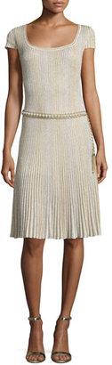 St. John Collection Kiklos Shimmery Scoop-Neck Flared Dress, Alabaster/Gold $1,195 thestylecure.com