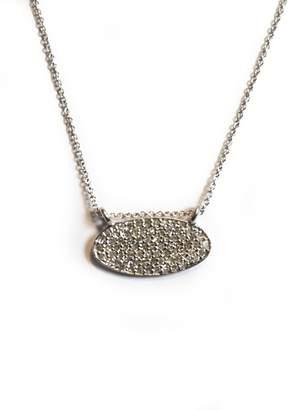 Lera Jewels pave diamond mini oval necklace 14k white gold (Default)