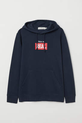 H&M Hooded Sweatshirt with Motif - Blue