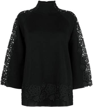 Blumarine floral lace embellished sweater