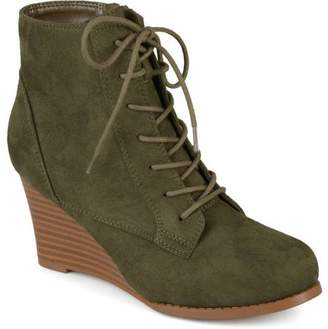 6859b7b3113f Brinley Co. Womens Lace-up Faux Suede Stacked Wedge Booties