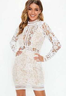 Missguided White Crochet Long Sleeve Midi Dress