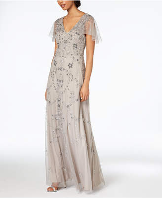 Adrianna Papell Beaded Capelet Gown