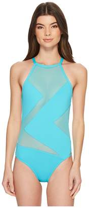 MICHAEL Michael Kors Layered Illusion High Neck One-Piece Swimsuit w/ Mesh Insert Women's Swimsuits One Piece