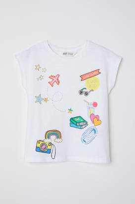 H&M Top with Printed Motif - White